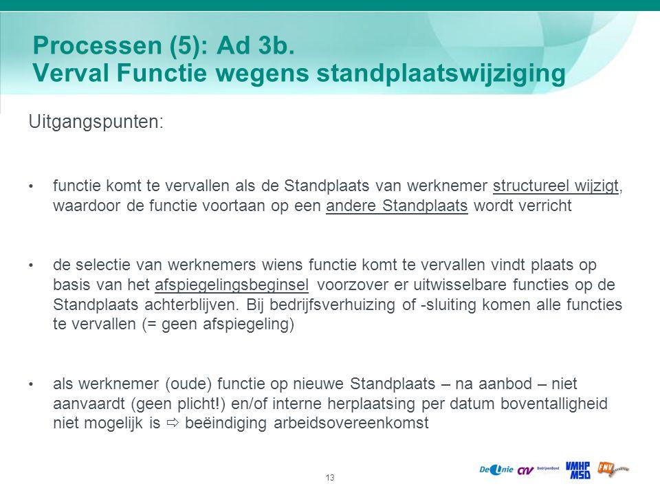 Processen (5): Ad 3b. Verval Functie wegens standplaatswijziging