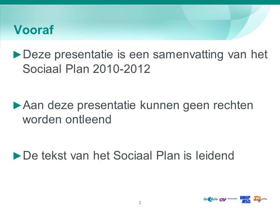Vooraf Deze presentatie is een samenvatting van het Sociaal Plan 2010-2012. Aan deze presentatie kunnen geen rechten worden ontleend.