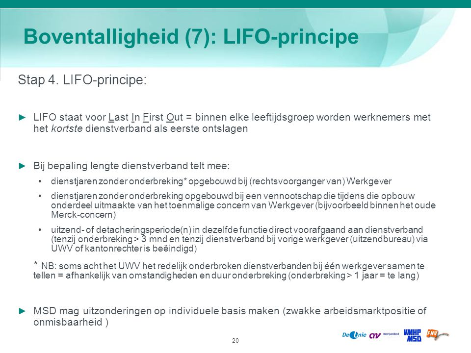 Boventalligheid (7): LIFO-principe