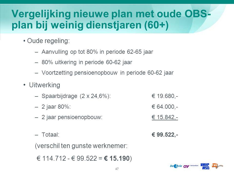 Vergelijking nieuwe plan met oude OBS-plan bij weinig dienstjaren (60+)