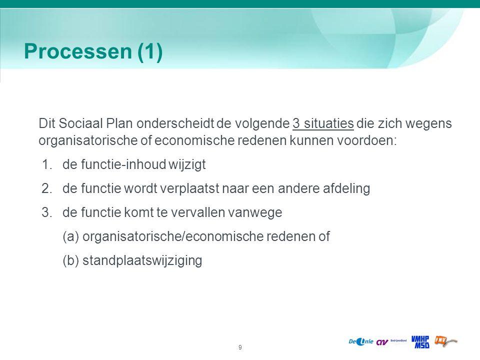 Processen (1) Dit Sociaal Plan onderscheidt de volgende 3 situaties die zich wegens organisatorische of economische redenen kunnen voordoen: