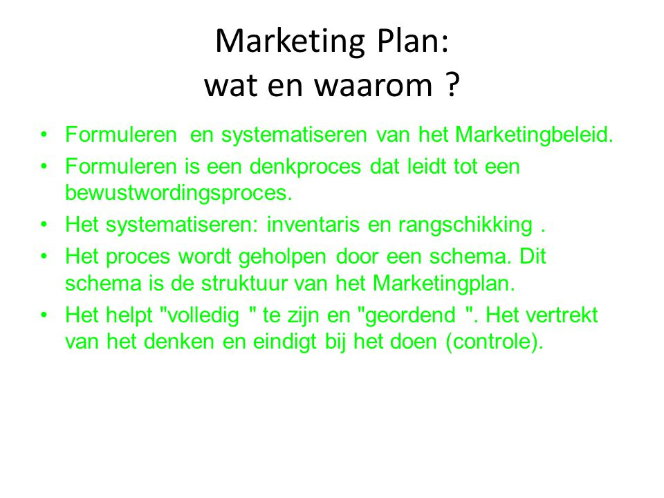 Marketing Plan: wat en waarom