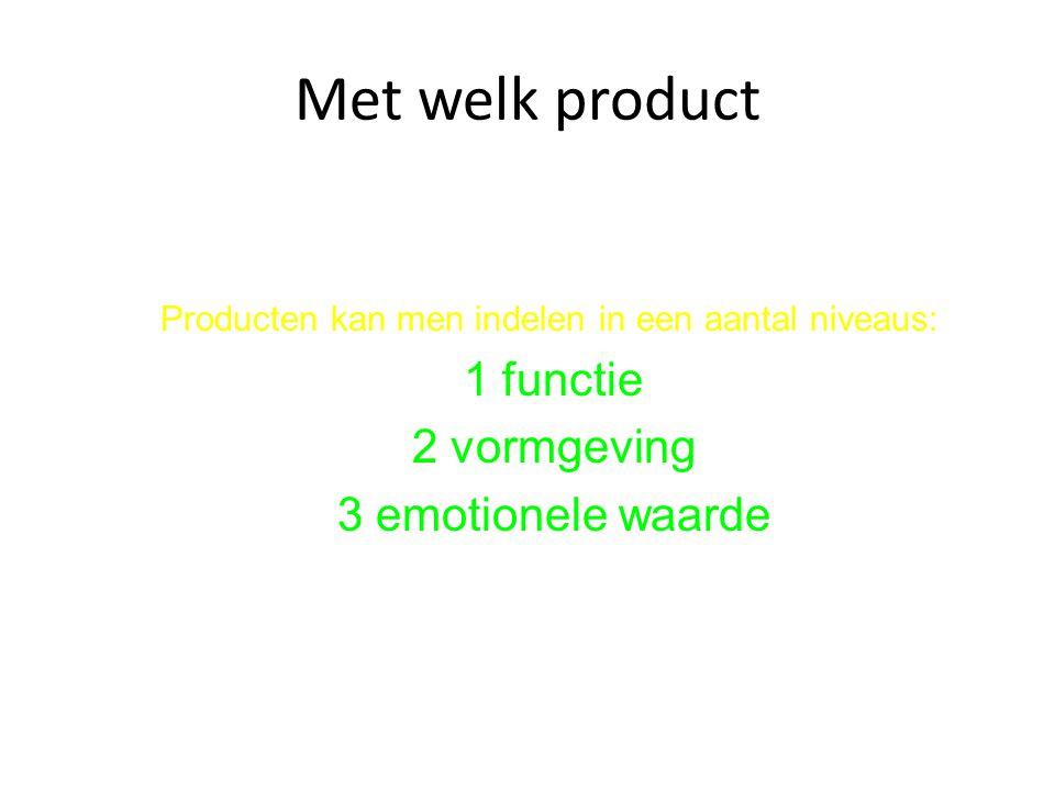 Met welk product 1 functie 2 vormgeving 3 emotionele waarde
