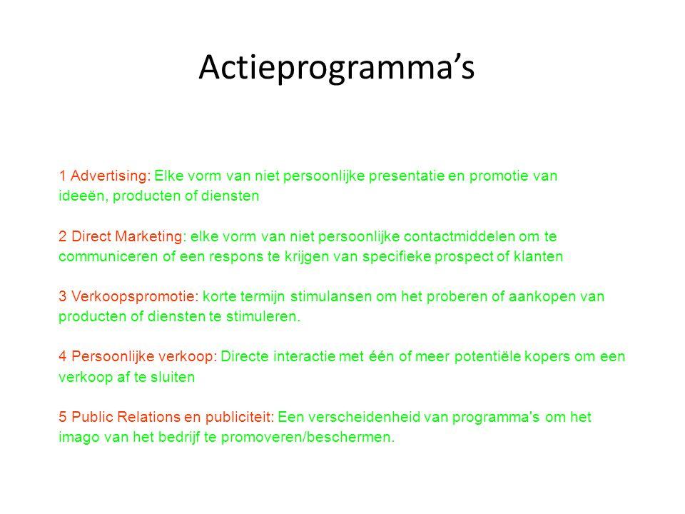 Actieprogramma's 1 Advertising: Elke vorm van niet persoonlijke presentatie en promotie van. ideeën, producten of diensten.