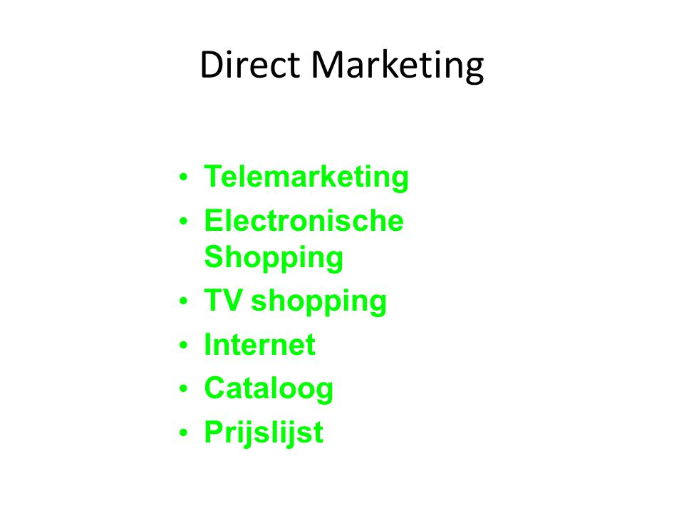 Direct Marketing Telemarketing Electronische Shopping TV shopping