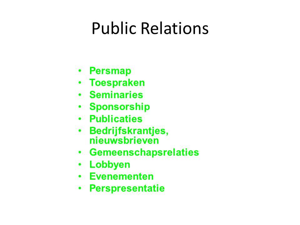 Public Relations Persmap Toespraken Seminaries Sponsorship Publicaties