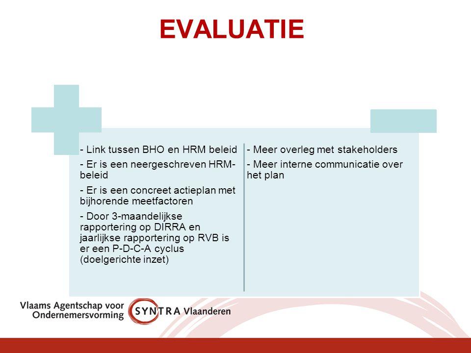 EVALUATIE - Link tussen BHO en HRM beleid