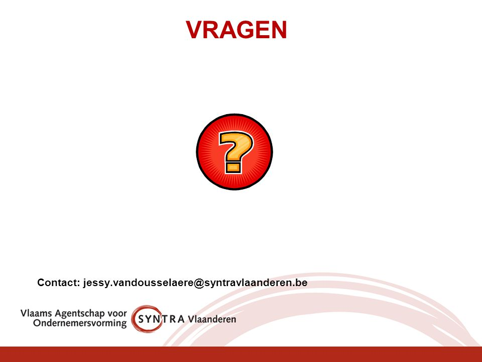 VRAGEN Contact: jessy.vandousselaere@syntravlaanderen.be