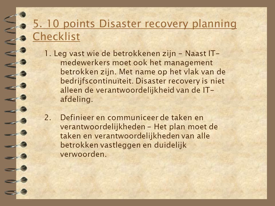 5. 10 points Disaster recovery planning Checklist