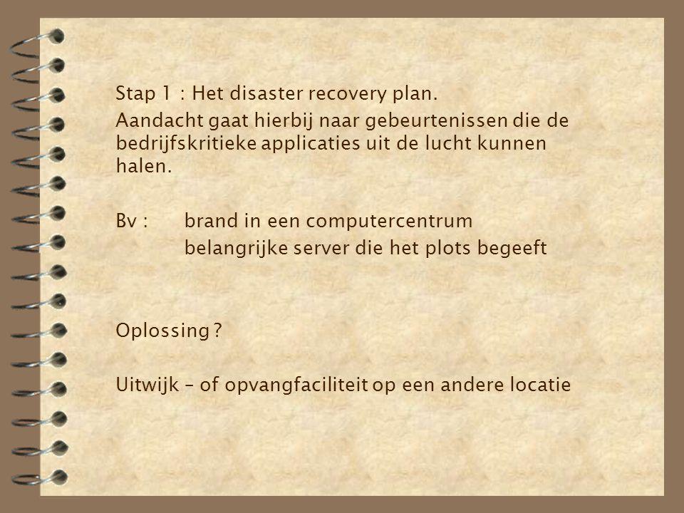 Stap 1 : Het disaster recovery plan.