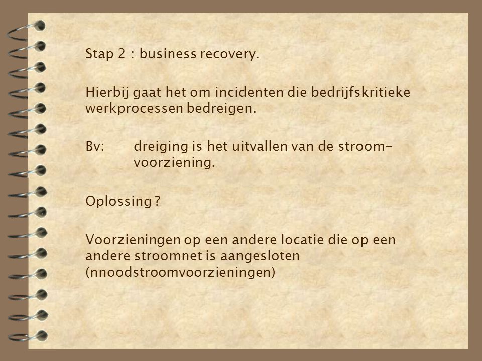 Stap 2 : business recovery.