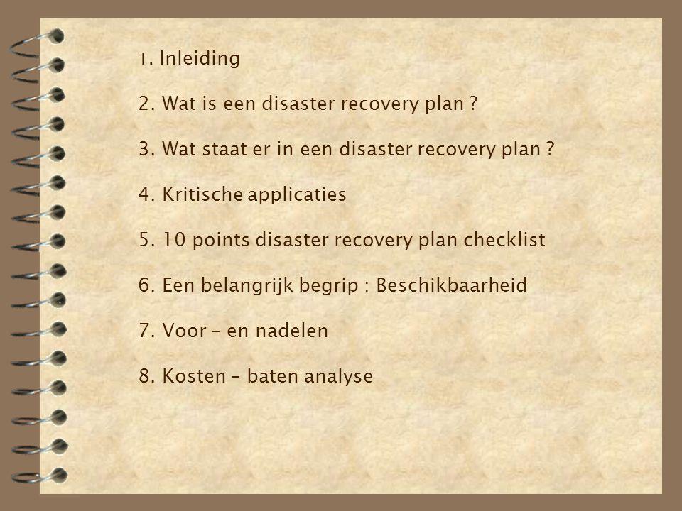 1. Inleiding 2. Wat is een disaster recovery plan. 3