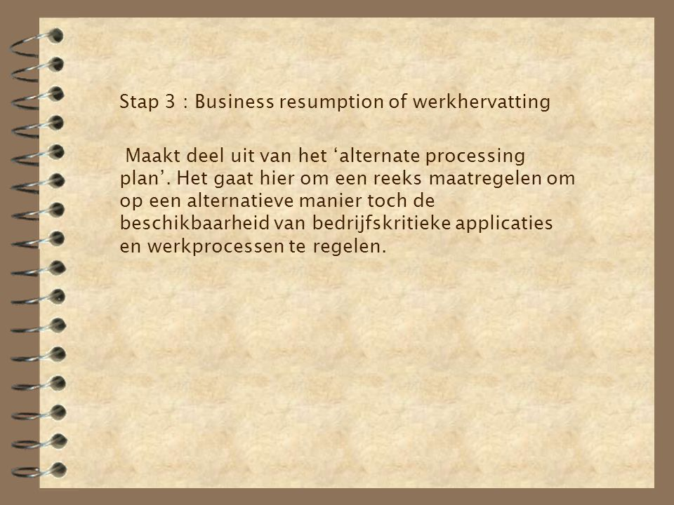 Stap 3 : Business resumption of werkhervatting