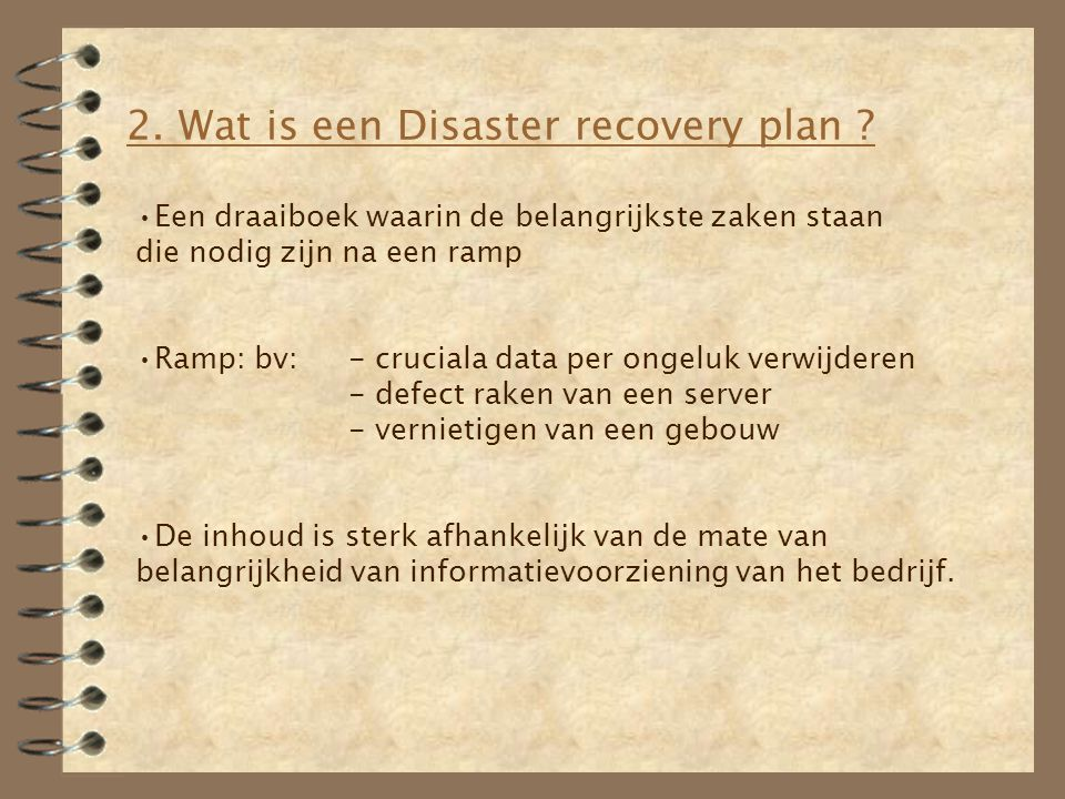2. Wat is een Disaster recovery plan