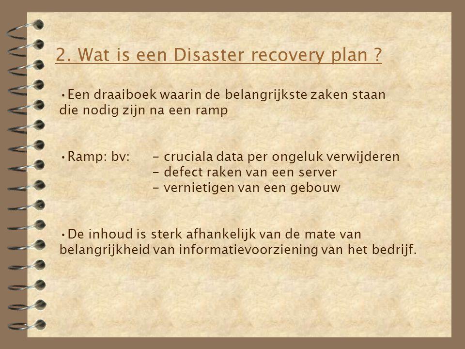 2. Wat is een Disaster recovery plan