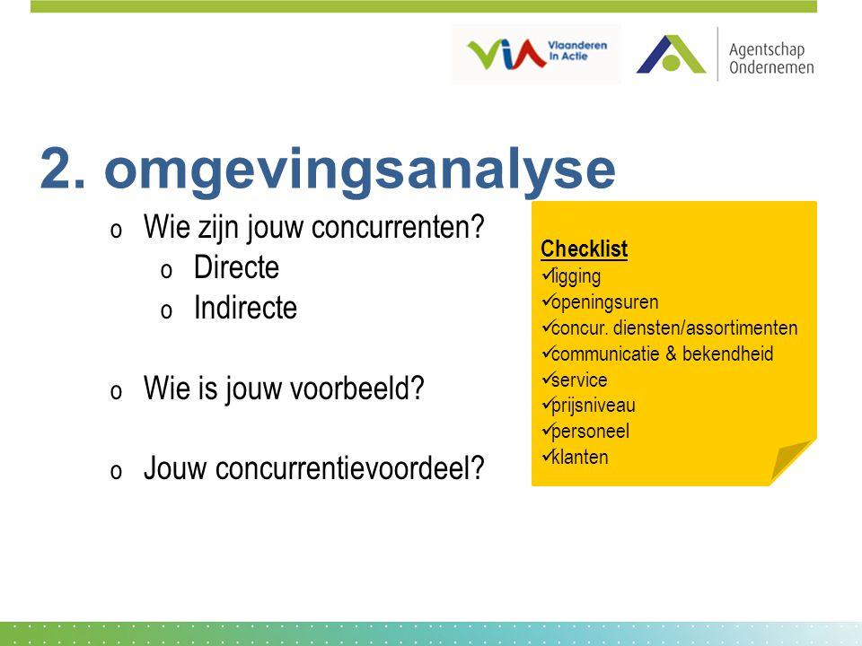 2. omgevingsanalyse Wie zijn jouw concurrenten Directe Indirecte