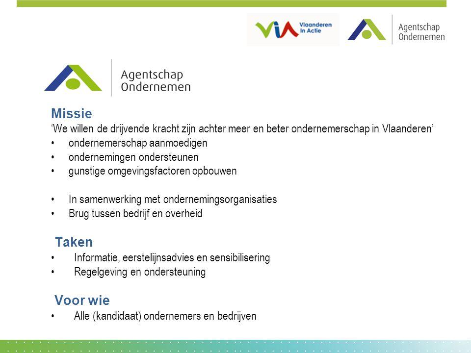 Missie 'We willen de drijvende kracht zijn achter meer en beter ondernemerschap in Vlaanderen' ondernemerschap aanmoedigen.