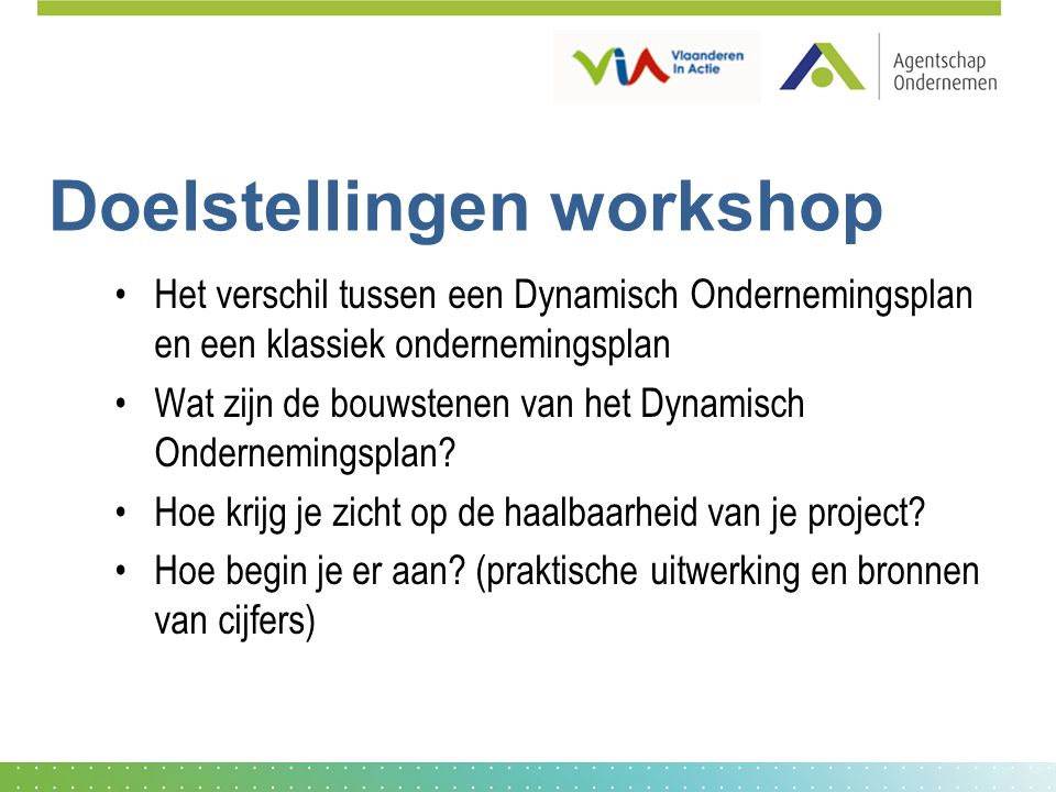 Doelstellingen workshop