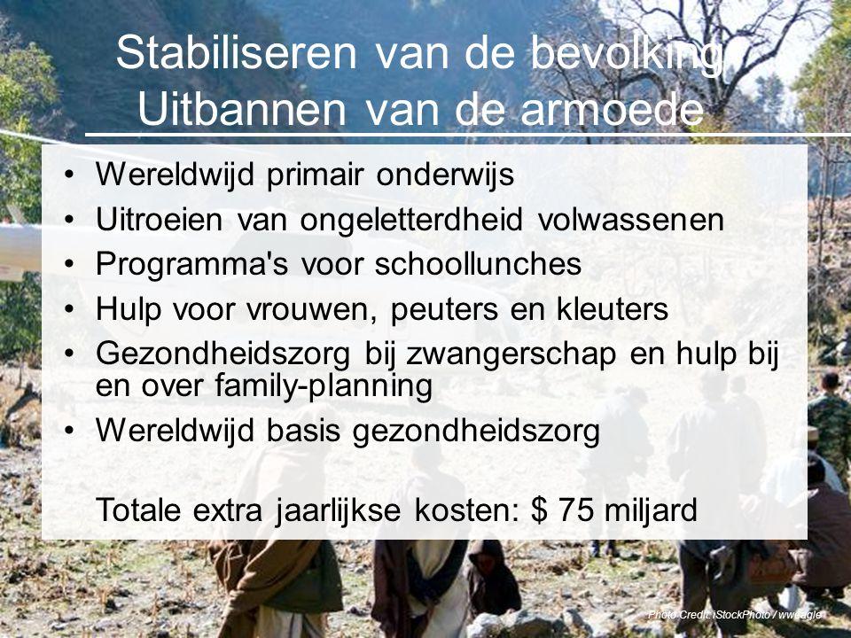 Stabiliseren van de bevolking Uitbannen van de armoede