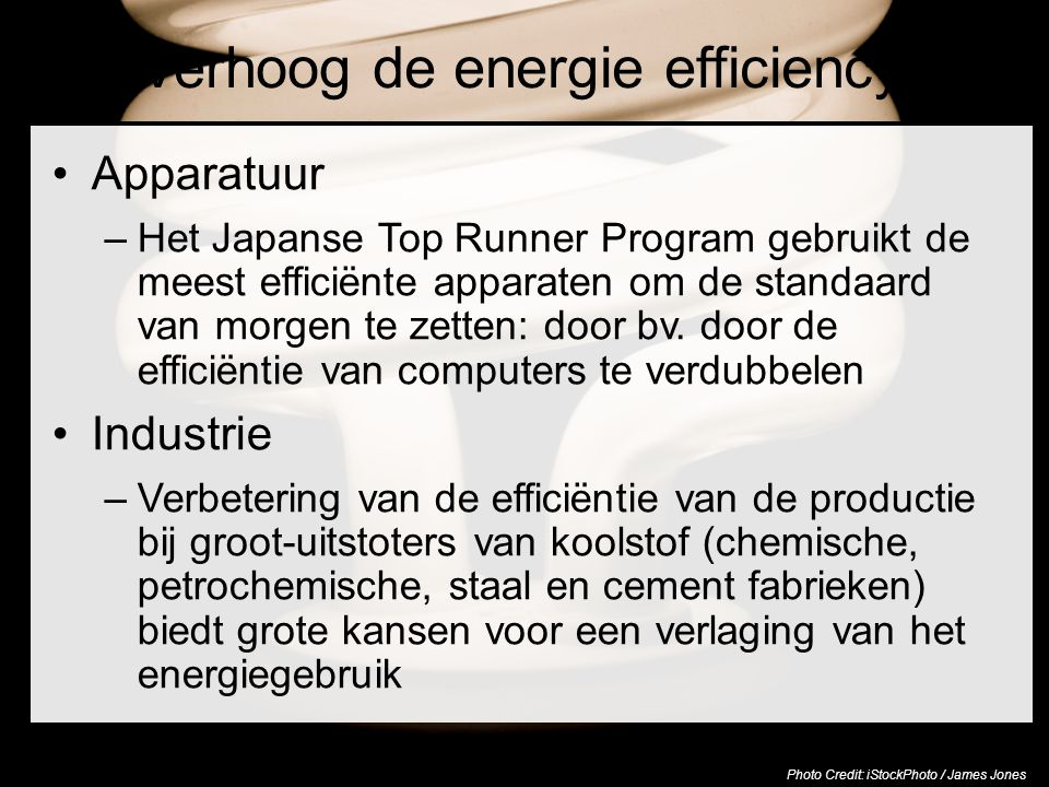 Verhoog de energie efficiency