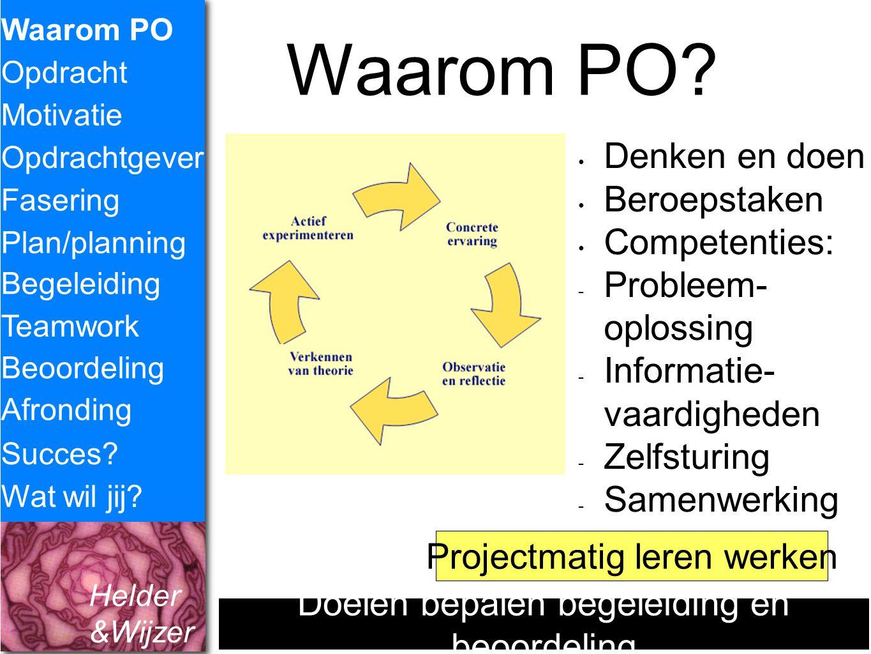 Waarom PO Denken en doen Beroepstaken Competenties: