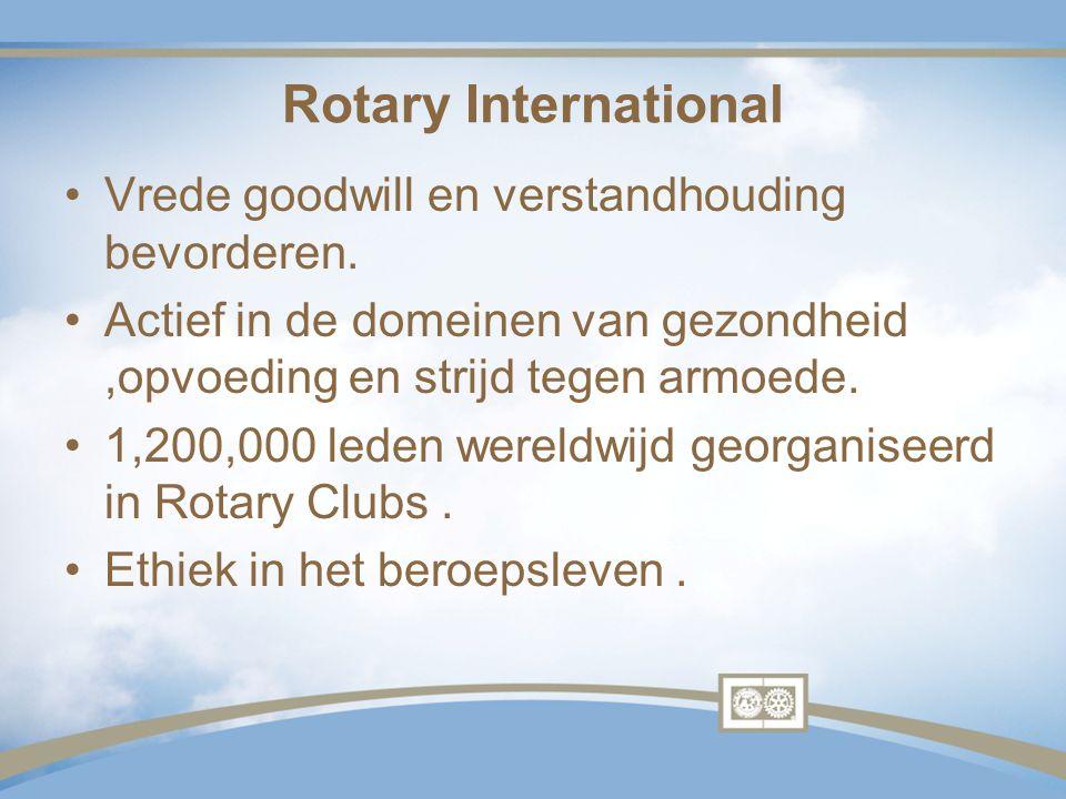 Rotary International Vrede goodwill en verstandhouding bevorderen.