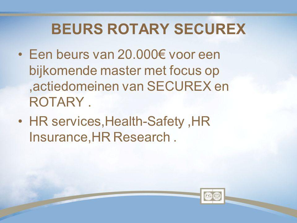 BEURS ROTARY SECUREX Een beurs van 20.000€ voor een bijkomende master met focus op ,actiedomeinen van SECUREX en ROTARY .