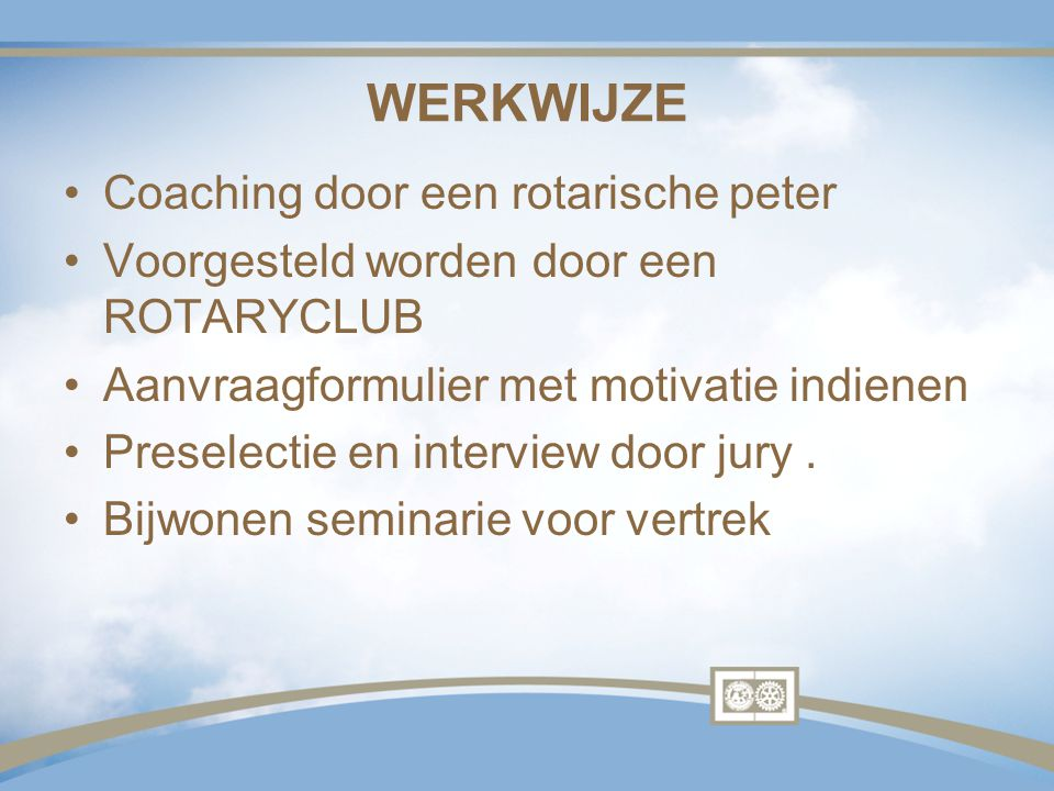 WERKWIJZE Coaching door een rotarische peter