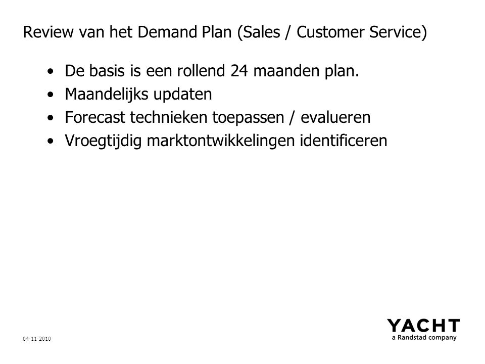 Review van het Demand Plan (Sales / Customer Service)