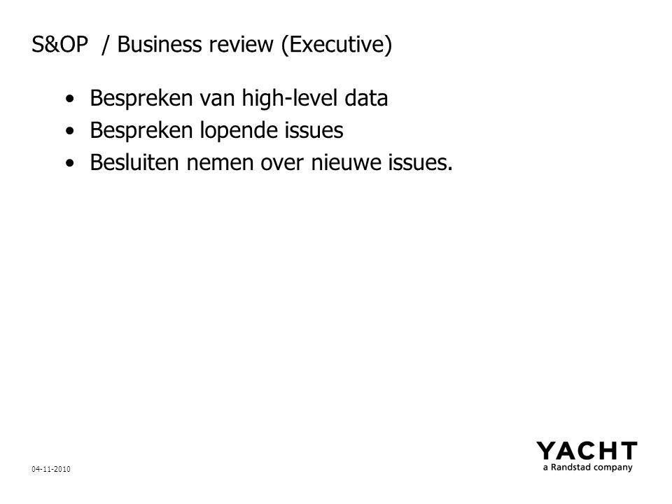 S&OP / Business review (Executive)