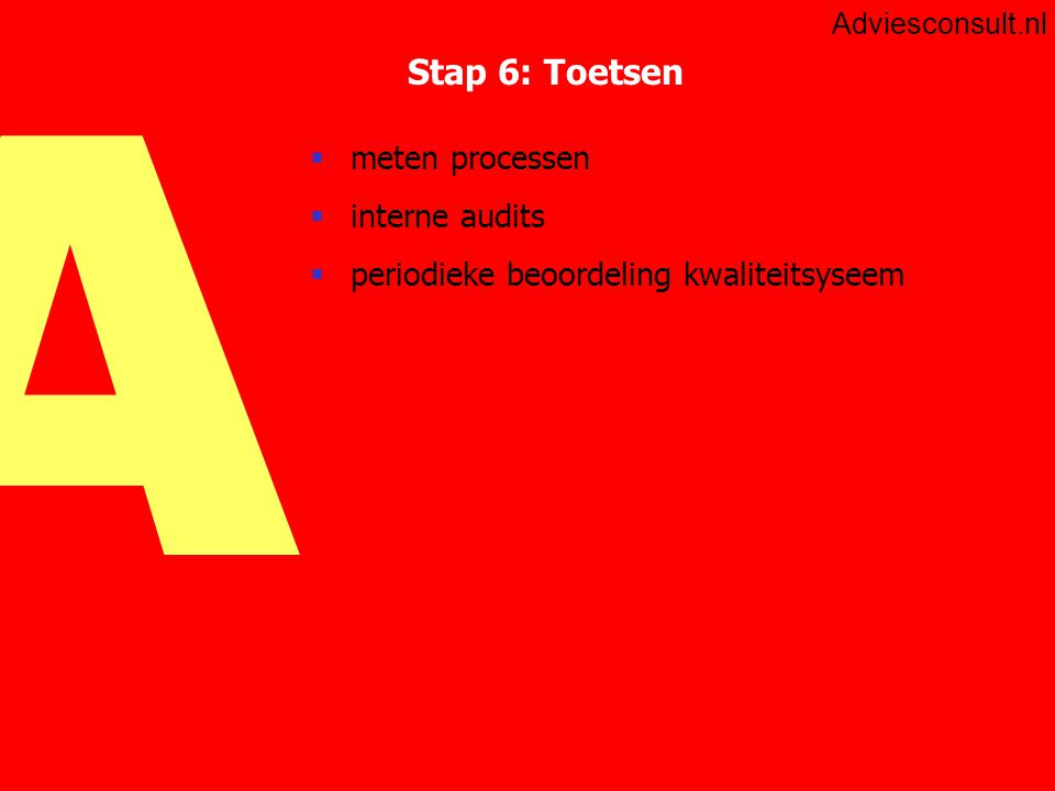 Stap 6: Toetsen meten processen interne audits