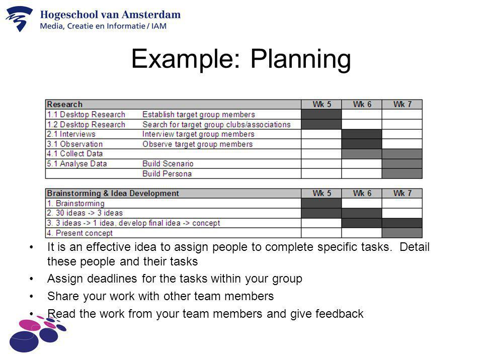 Example: Planning It is an effective idea to assign people to complete specific tasks. Detail these people and their tasks.