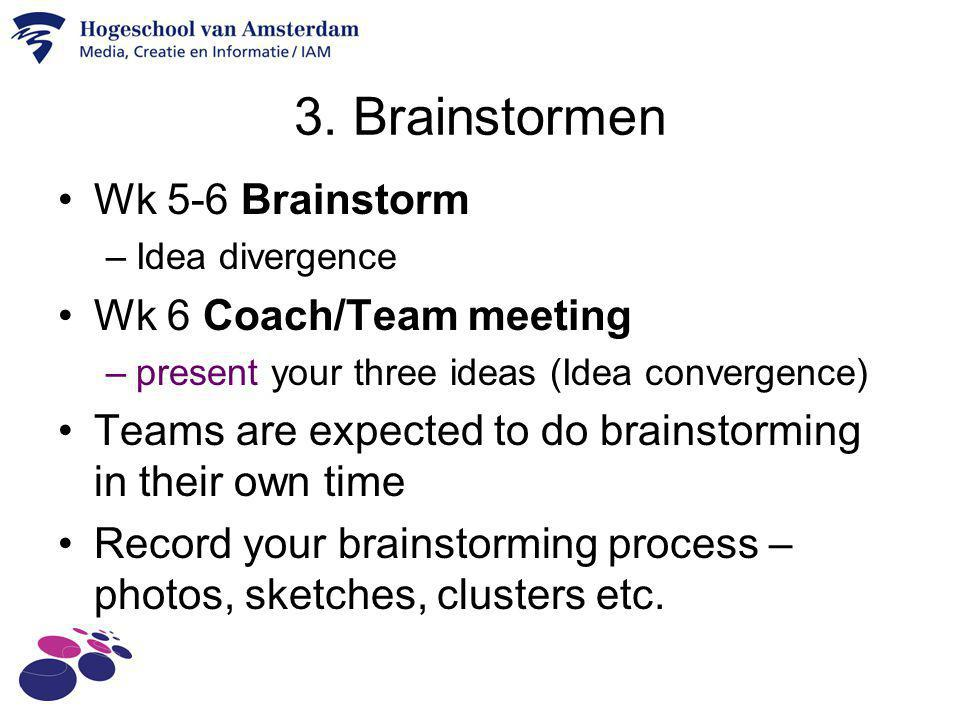 3. Brainstormen Wk 5-6 Brainstorm Wk 6 Coach/Team meeting