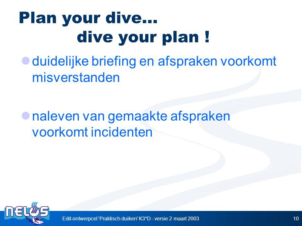 Plan your dive... dive your plan !