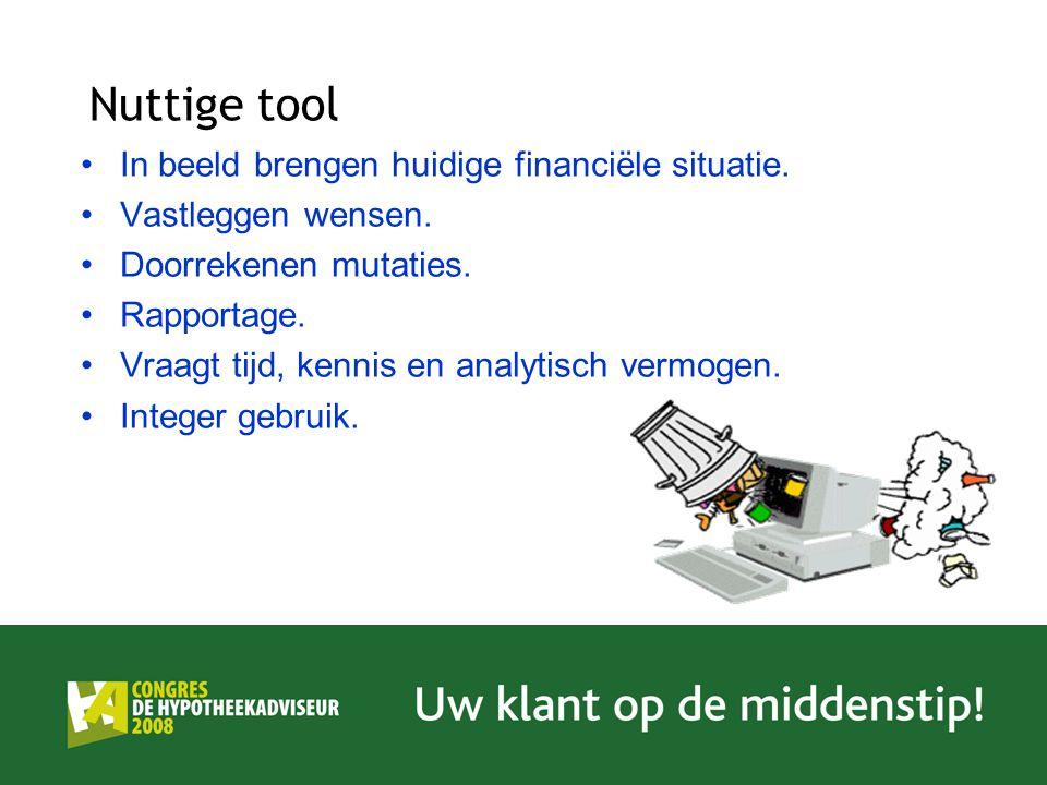 Nuttige tool In beeld brengen huidige financiële situatie.