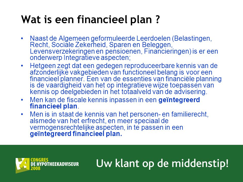 Wat is een financieel plan