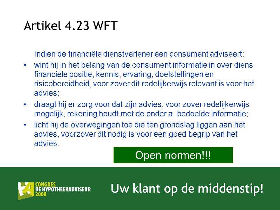 Artikel 4.23 WFT Open normen!!!