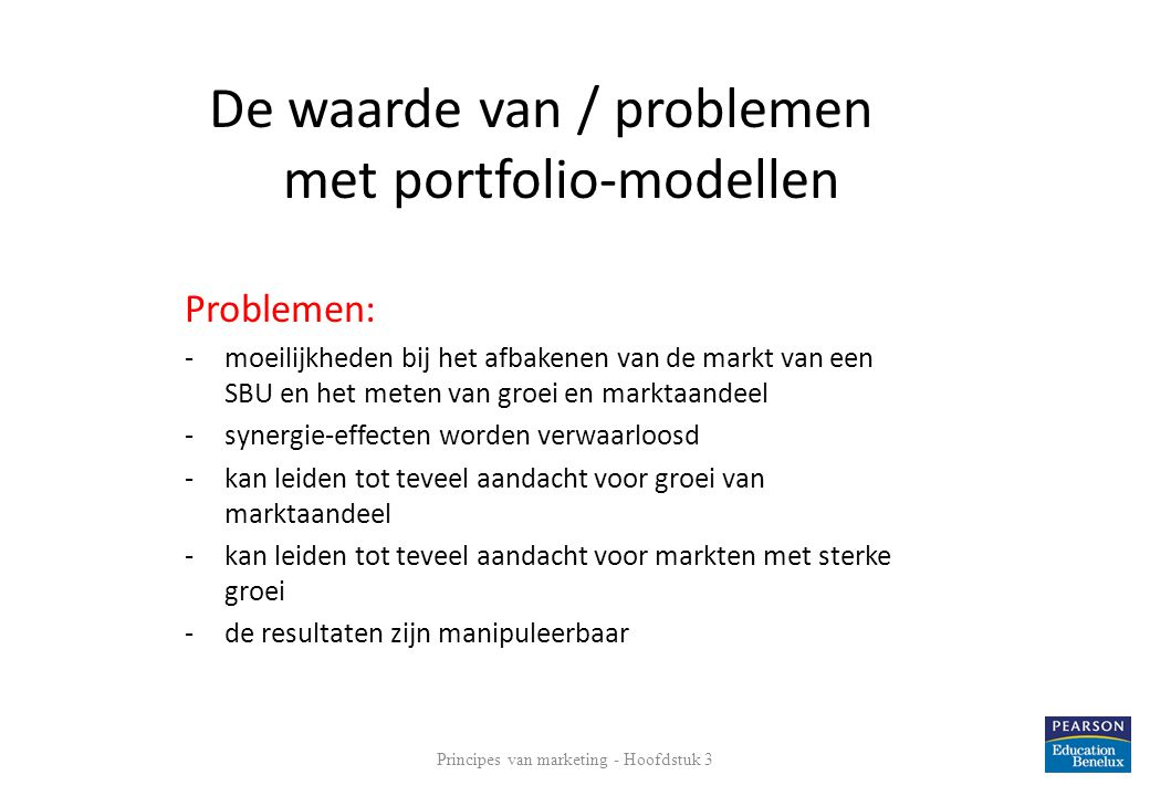 De waarde van / problemen met portfolio-modellen
