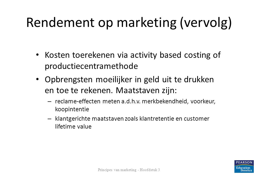 Rendement op marketing (vervolg)