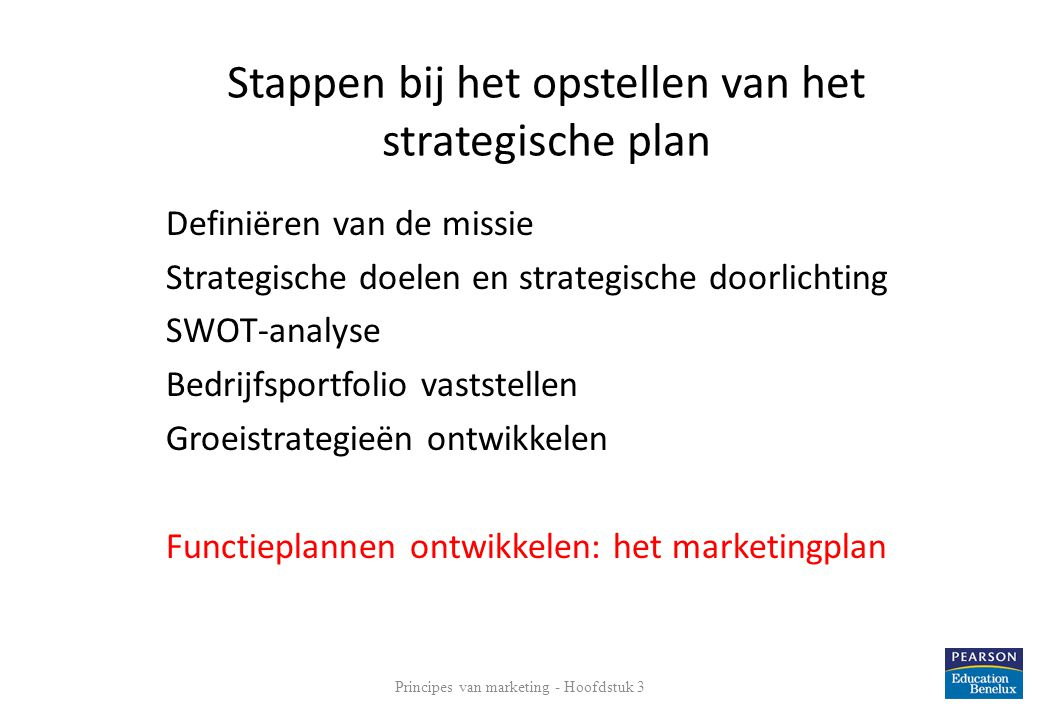 Stappen bij het opstellen van het strategische plan