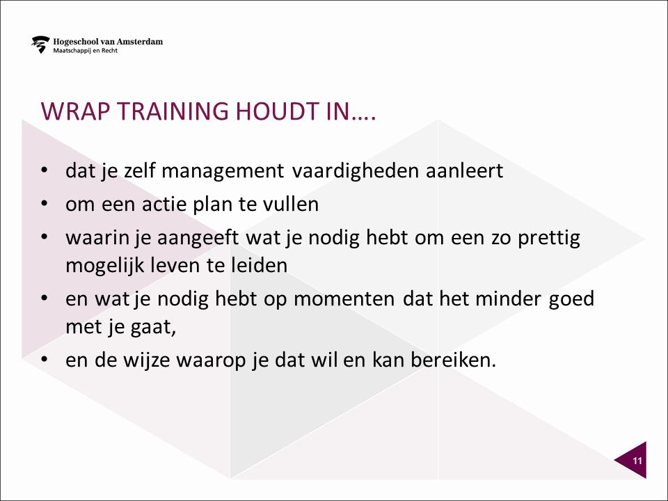WRAP training houdt in….