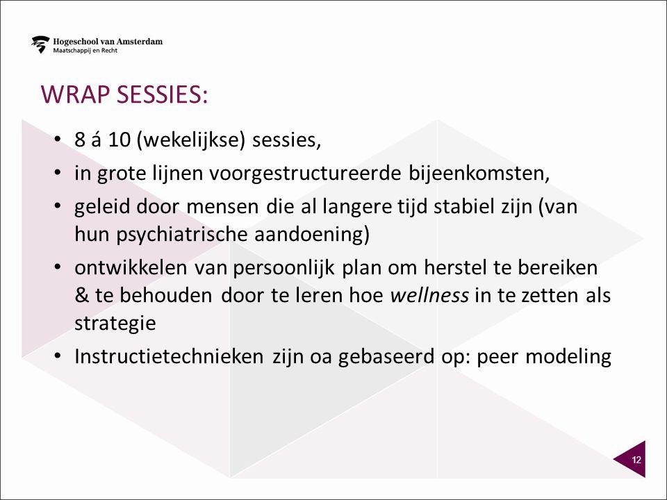 WRAP sessies: 8 á 10 (wekelijkse) sessies,