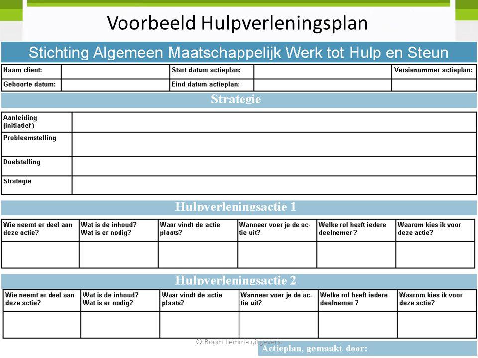Voorbeeld Hulpverleningsplan