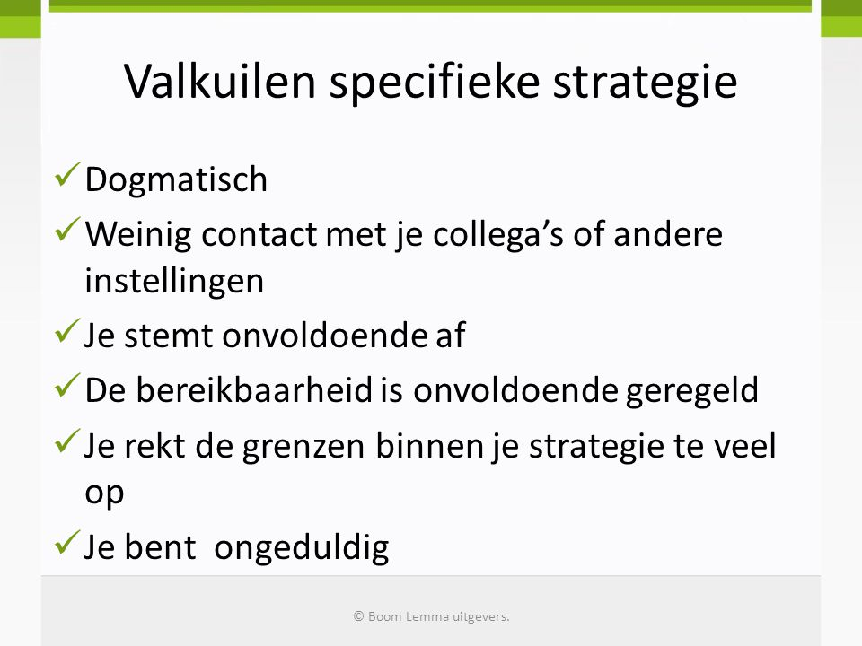 Valkuilen specifieke strategie
