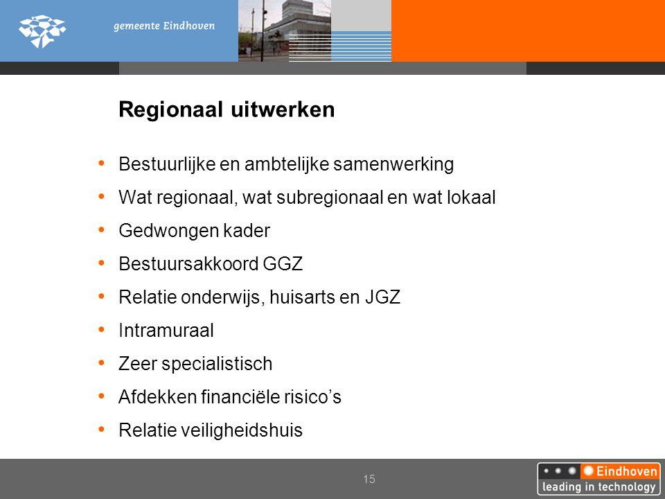 Regionaal uitwerken Bestuurlijke en ambtelijke samenwerking
