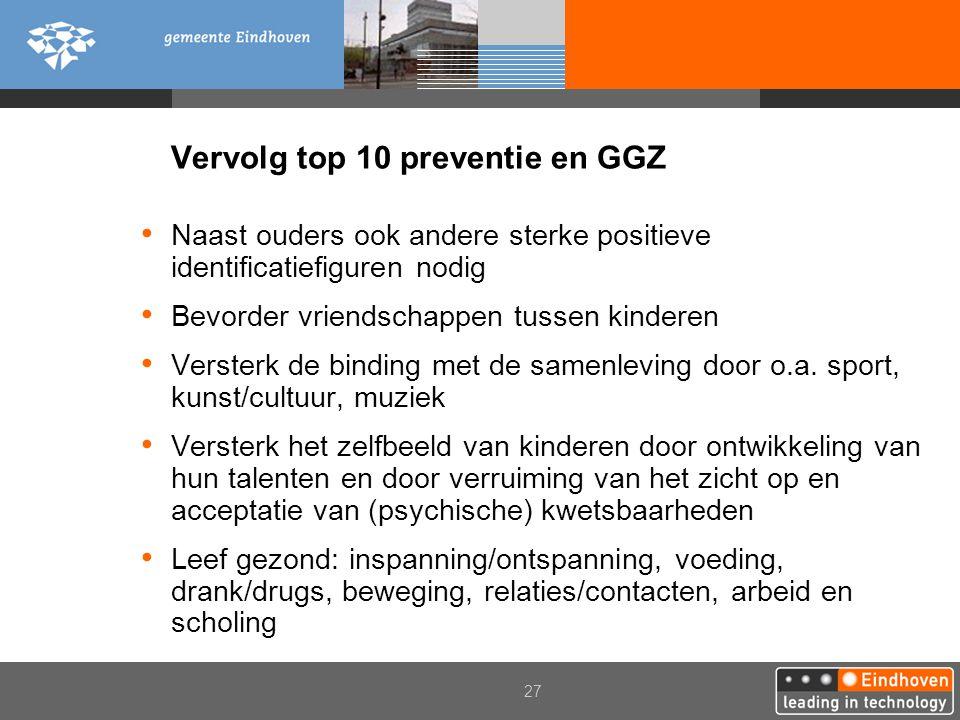 Vervolg top 10 preventie en GGZ