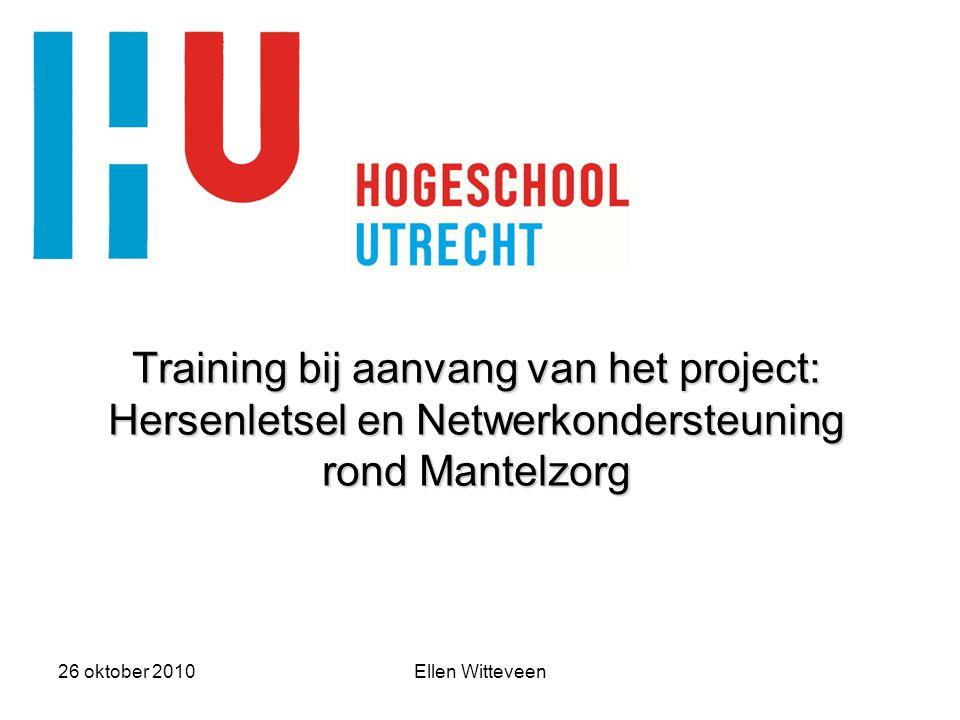 Training bij aanvang van het project: Hersenletsel en Netwerkondersteuning rond Mantelzorg