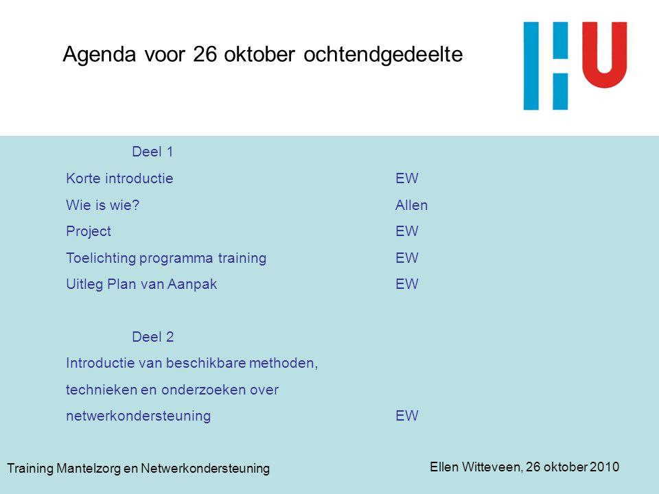 Agenda voor 26 oktober ochtendgedeelte