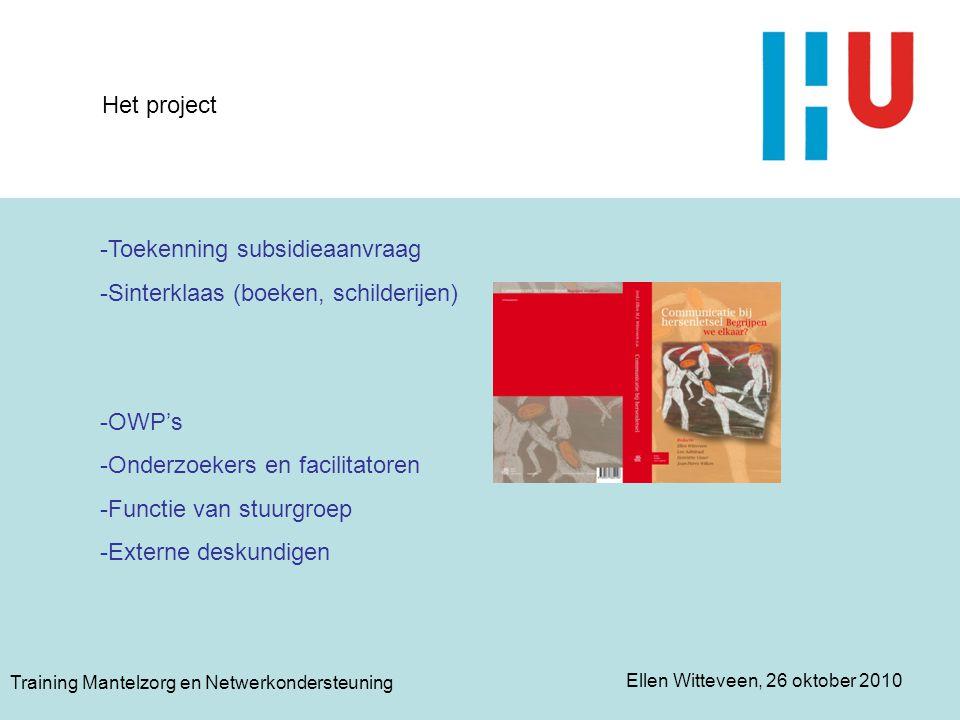 Toekenning subsidieaanvraag Sinterklaas (boeken, schilderijen)