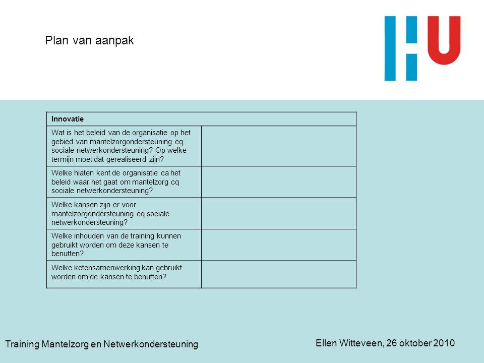Plan van aanpak Training Mantelzorg en Netwerkondersteuning Innovatie